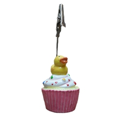 Bucky the Duck on a Cupcake Ticket Holder